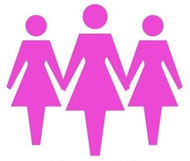figure stilizzate di tre donne in rosa che si tengono per mano