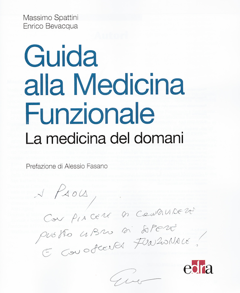 "Dr. Bevaqua's Dedication in the first page of his book ""Guidebook to Functional Medicine"""