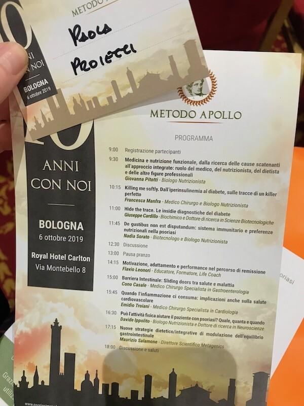Programma dell'evento Metodo Apollo 20 anni con noi con la tessera della Dott.ssa Paola Proietti Cesaretti
