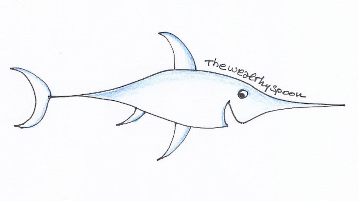 Figura di pesce spada stilizzato sorridente: la preparazione salutare del pesce secondo la Nutrizionista Dott.ssa Paola Proietti Cesaretti by thewealthyspoon