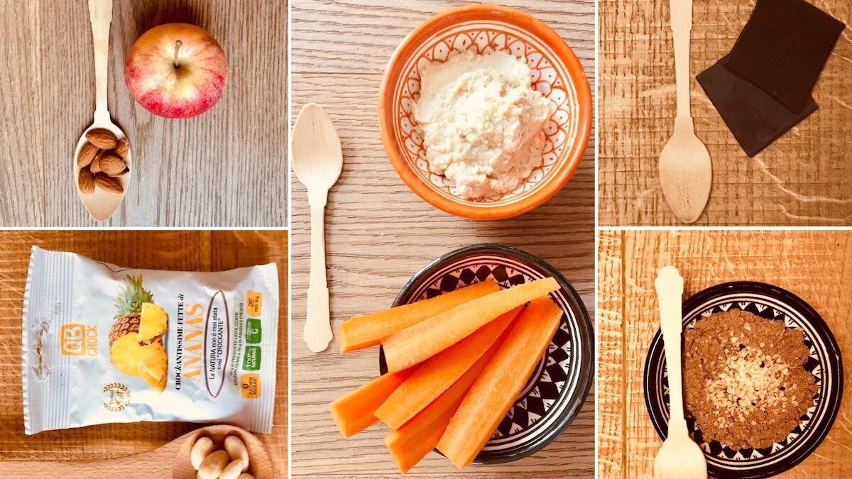 Suggerimento di cinque spuntini con alimenti sani proposti dalla Nutrizionista Dott.ssa Paola Proietti Cesaretti e accompagnati da un cucchiaino di legno by thewealthyspoon