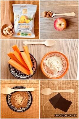 Collage di immagini di cinque spuntini con alimenti sani e accompagnati da un cucchiaino di legno