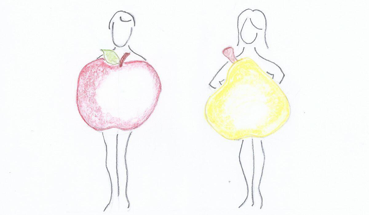 Il biotipo Androide rappresentato dalla forma della mela rossa ed il biotipo Genoide dalla forma della pera gialla sono casi studiati dalla Nutrizionista Dott.ssa Paola Proietti Cesaretti by thewealthyspoon